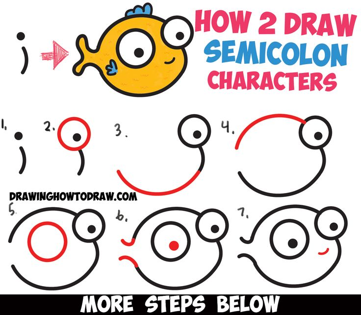 "How to Draw a Cute Easy Cartoon Fish from a Semicolon "" ; "" - Simple Step by Step Drawing Tutorial for Kids"
