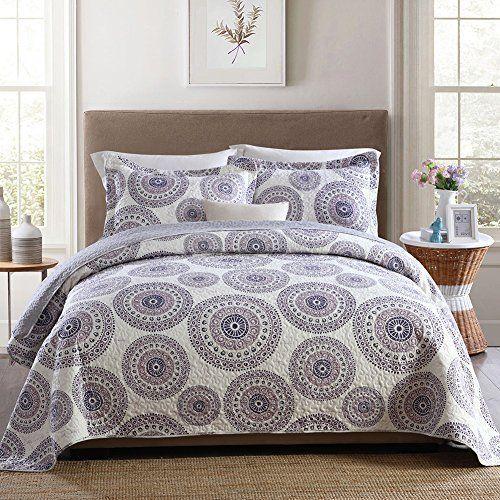 3 Pcs Quilt Bedspread King Set Pillowcases Medallion Paisley Soft