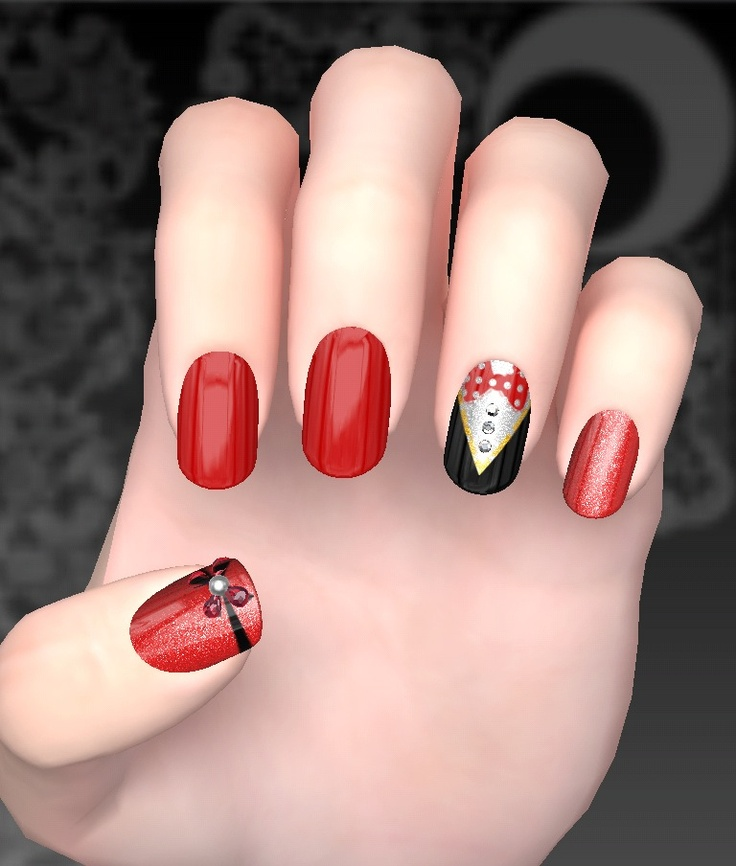 Tuxedo nail art. Red nails. 3d nail design. Pola dot bow. Soon to be