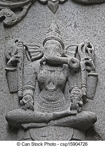 Carved statue of Lord Ganesha (Vinayaki) in Woman form on a wall of Bhuleshvar Temple, Yawat, Maharashtra, India.
