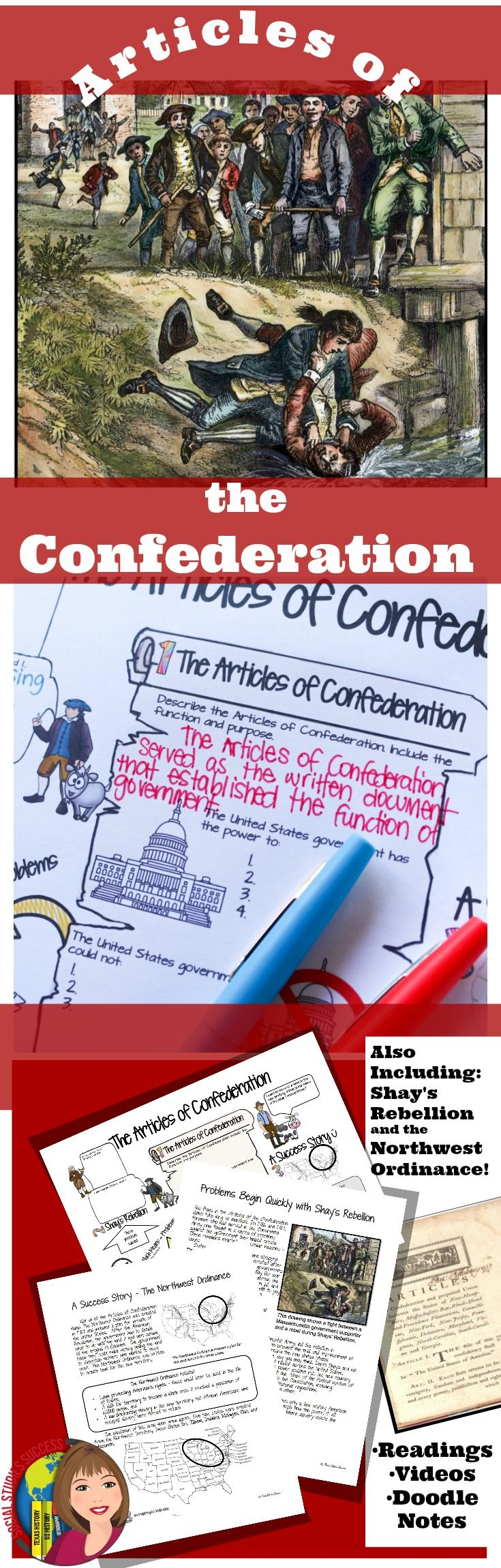 Kids love Doodle Notes! Do something different this year with your Articles of Confederation! Engage your students with a reading and Doodle Notes.  In this activity, students will read about the Articles of Confederation, Shays' Rebellion and the Northwest Ordinance. Each one page reading has a corresponding section to complete on the Doodle Notes. A QR Code link is included in the reading.
