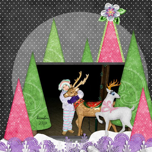 This scrapbook page was made using the digital scrapping collection, Winter Wonderland, sold by Kathryn Estry