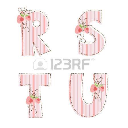 Strisce di tessuto patchwork alfabeto lettere R, S, T, U photo