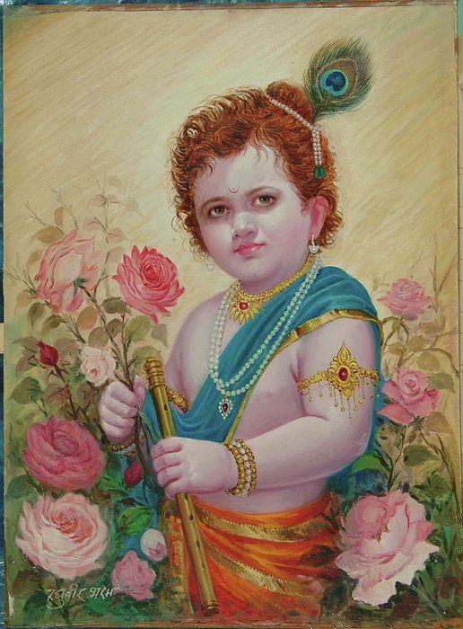Lord Painting - Bal Krishna by R Bharam