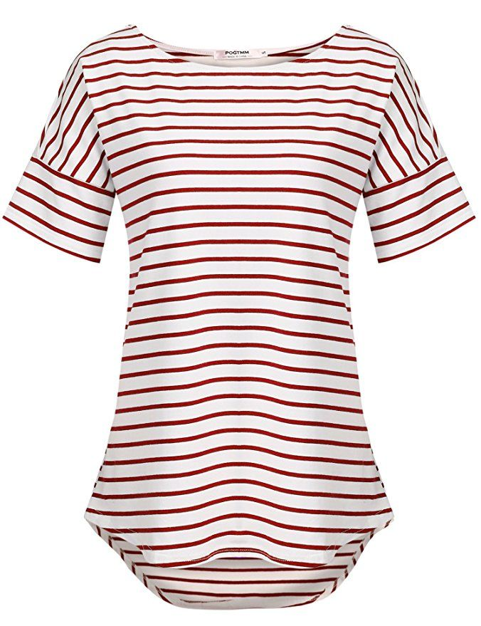 7fbd15adcad14 POGTMM Womens Red and White Striped Shirt (Red White