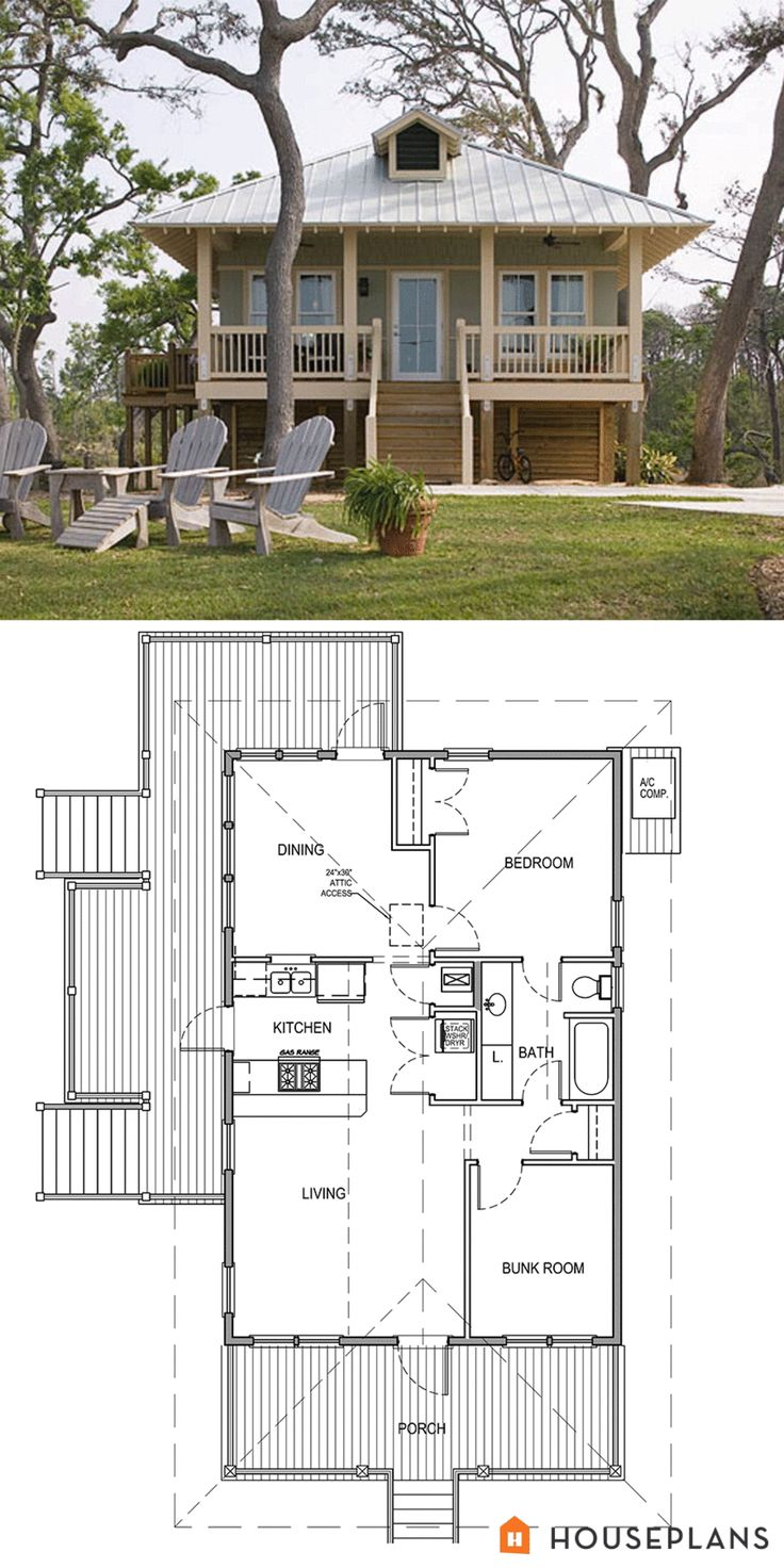 Coastal Cottage House Plan 900sft plan 536-2 - Plan 536-2  869 sq ft  2 beds  1 baths  24' wide  44' deep