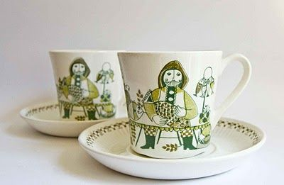 "Figgjo Norway ""Market"" Design  Tea Cups"