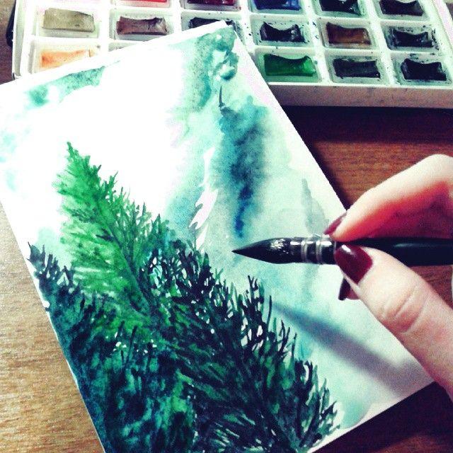 У всех лето, а меня потянуло на какие-то Альпийские пейзажи... Работа ищет родные стены. Продается. #ArtBySilmairel #MyArt #Art #Watercolor #Nature #Landscape #Tree #Green #Blue