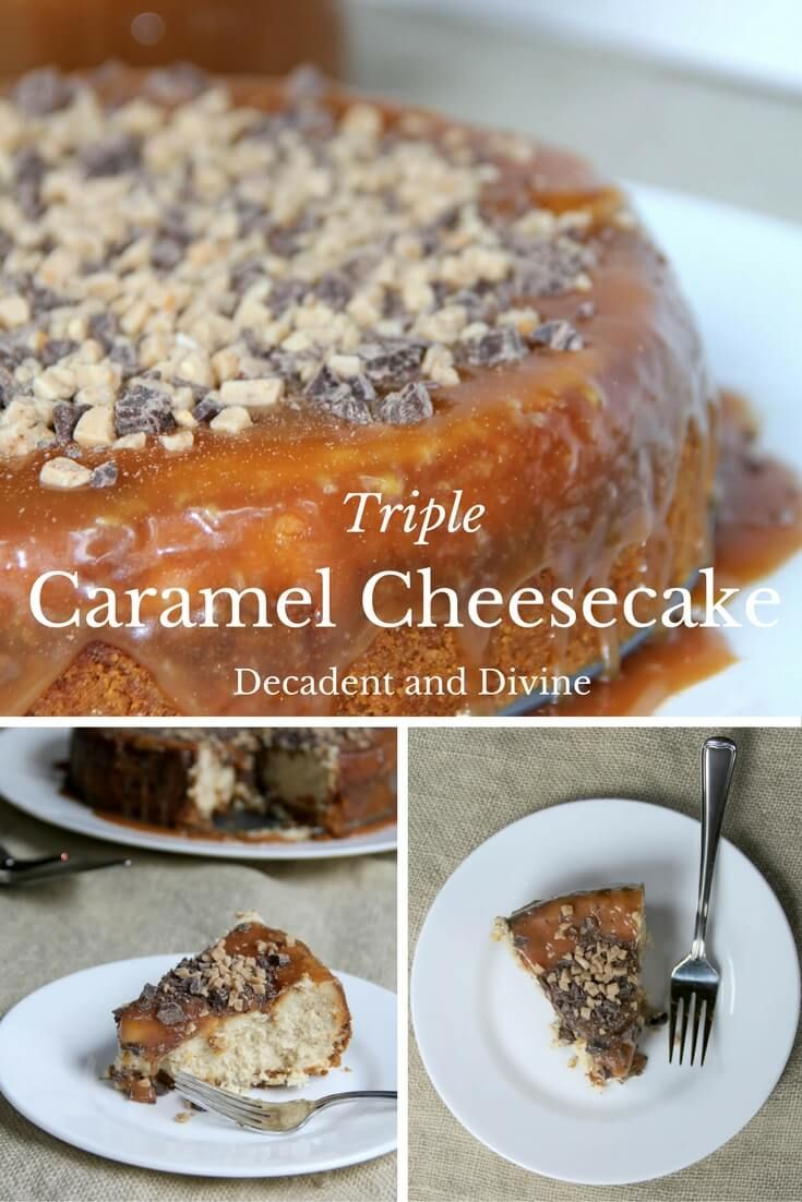 Luscious cheesecake with caramel sauce in the filling, toffee chips in ...