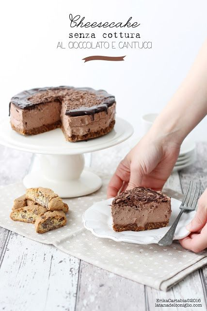 La tana del coniglio: Cheesecake senza cottura al cioccolato e cantucci