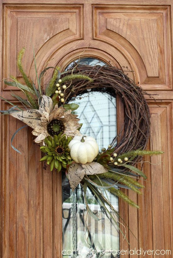 Fall wreath with a tiny white pumpkin