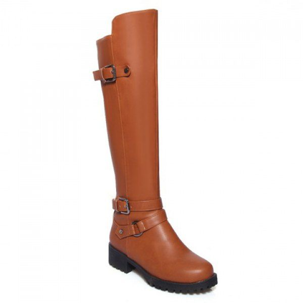 Concise Buckle and Rivets Design Women's Knee-High Boots #CLICK! #clothing, #shoes, #jewelry, #women, #men