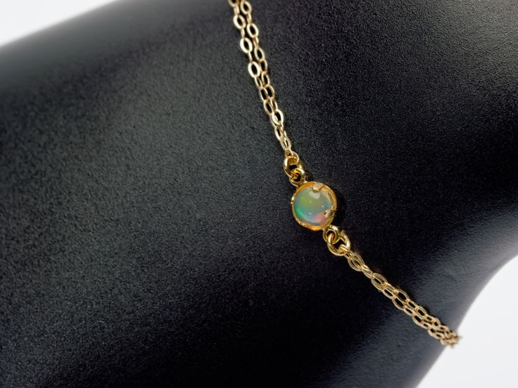 Made in New Zealand awesome #Nepogodova Bracelet with Natural Opal #1-14k-gold-15-17cm - Price: NZ$ 79.00. Buy now at https://www.nepogodova.co.nz/bracelet-with-natural-opal-1-14k-gold-15-17cm