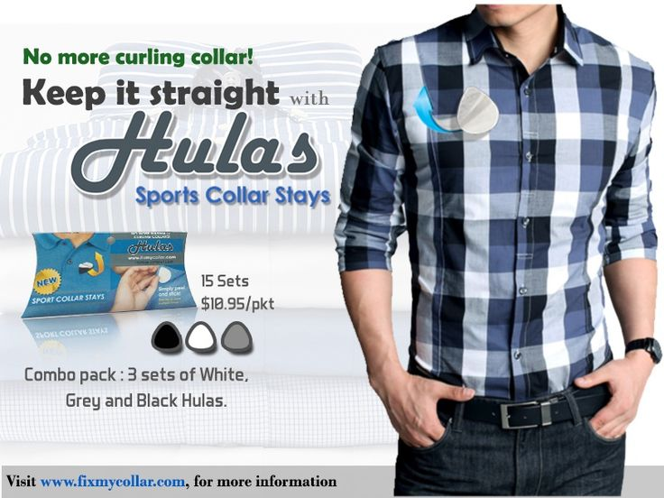 The most effective way to get rid of sagging collars is to use stick-on collar stays. Just stick the removable collar stay beneath your polo shirt collar to make it look firm all day long. Order now: http://www.fixmycollar.com/buyhulas