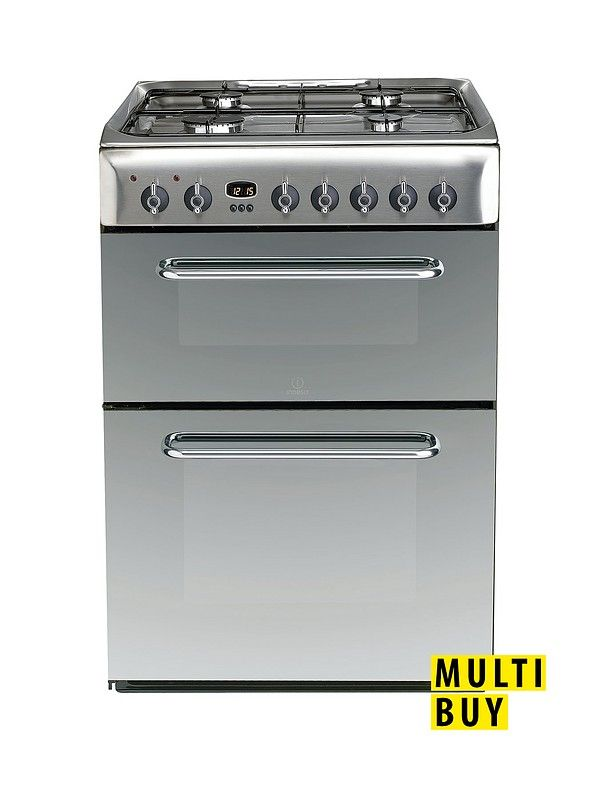 Indesit KDP60SES 60cm Dual Fuel Double Oven Cooker, Gas Hob with FSD - Stainless Steel Enjoy the combined power of gas and electric cooking with the Indesit KDP60SE S Double Electric Cooker with gas hob.Providing 74-litres of capacity within the main oven, fan assistance delivers a powerful, all-round heat that's perfect for the Sunday roast as well as quiches, pasta bakes and fish fingers. Within the top oven, a further 42-litres of space allows you room to cook side dishes, or use the…