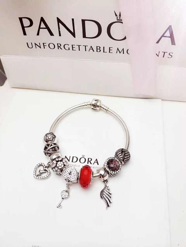 $239 Pandora Charm Bracelet Red White Brown. Hot Sale