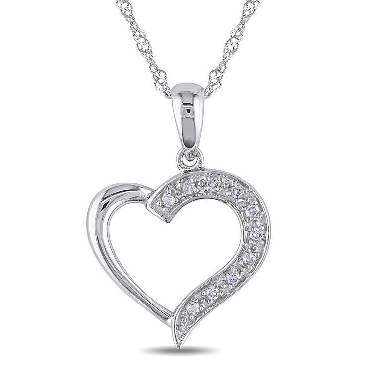 Miadora 14k Gold Diamond Heart Necklace and Gift Box, Women's