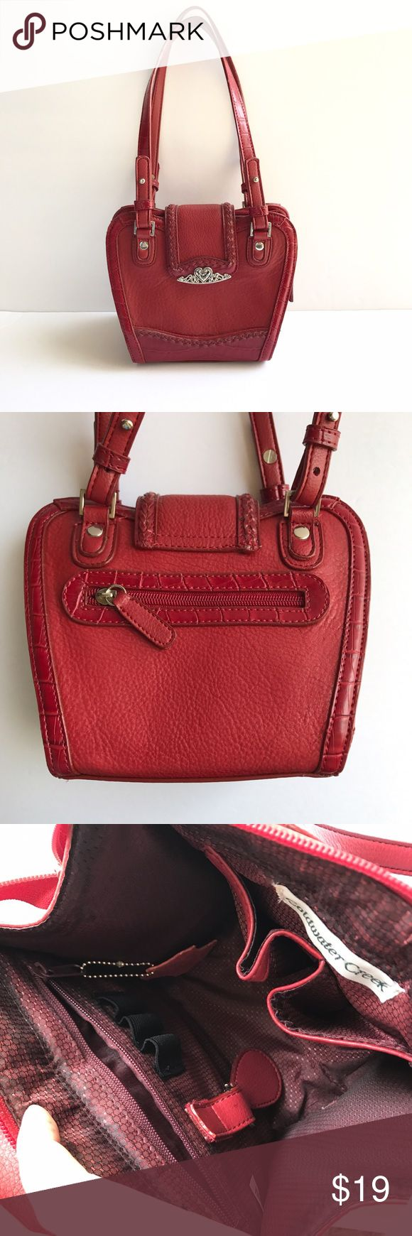 • Coldwater Creek • red shoulder bag Cute red purse! Several pockets inside and outside. Big enough for the essentials without being too large to handle. Gorgeous bag for errands! Nice metallic heart detail. Coldwater Creek Bags Shoulder Bags