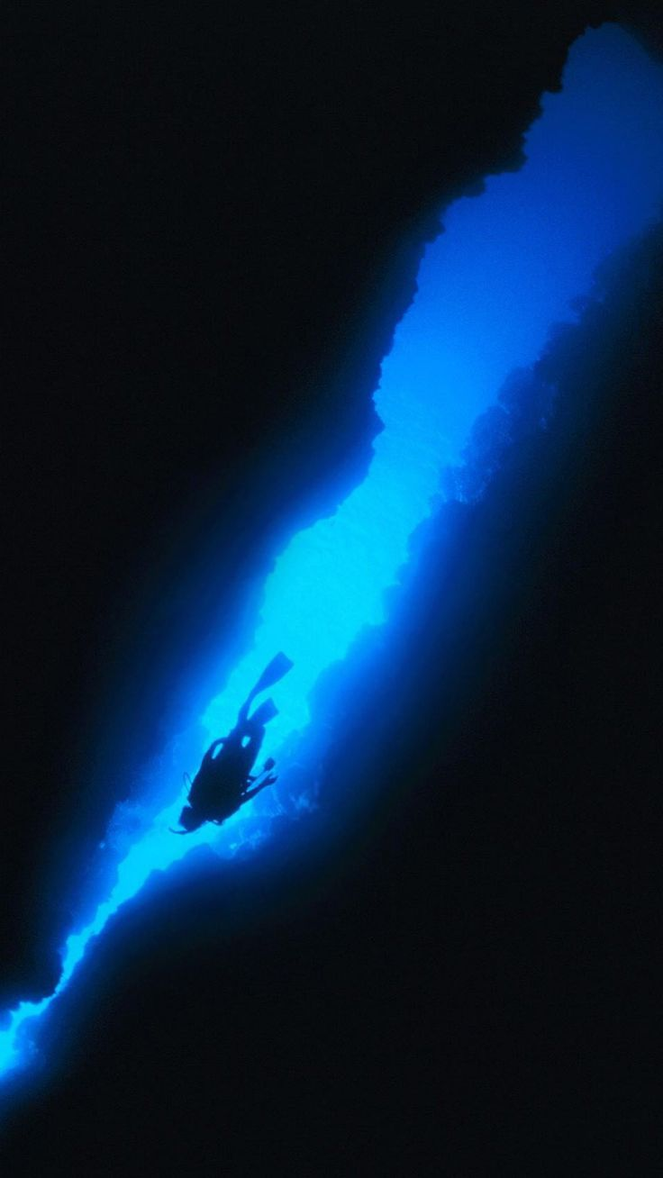 Blue water and skies above a diver