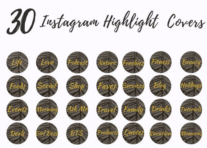 30 Instagram Story Highlight Icons Black Gold Abstract Icon