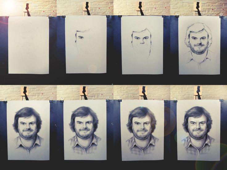 Jack Black custom portrait in handmade from photo step by step by Jacek Jaskowiak PortraitsBuy