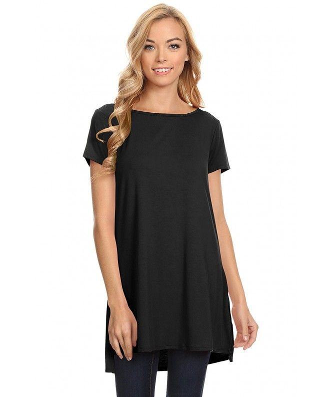 9e3baed2ac6 Womens Solid Side-Slit Short Sleeve and Sleeveless Round Neck Tunic Top -  Black - CG17YTAQT8C