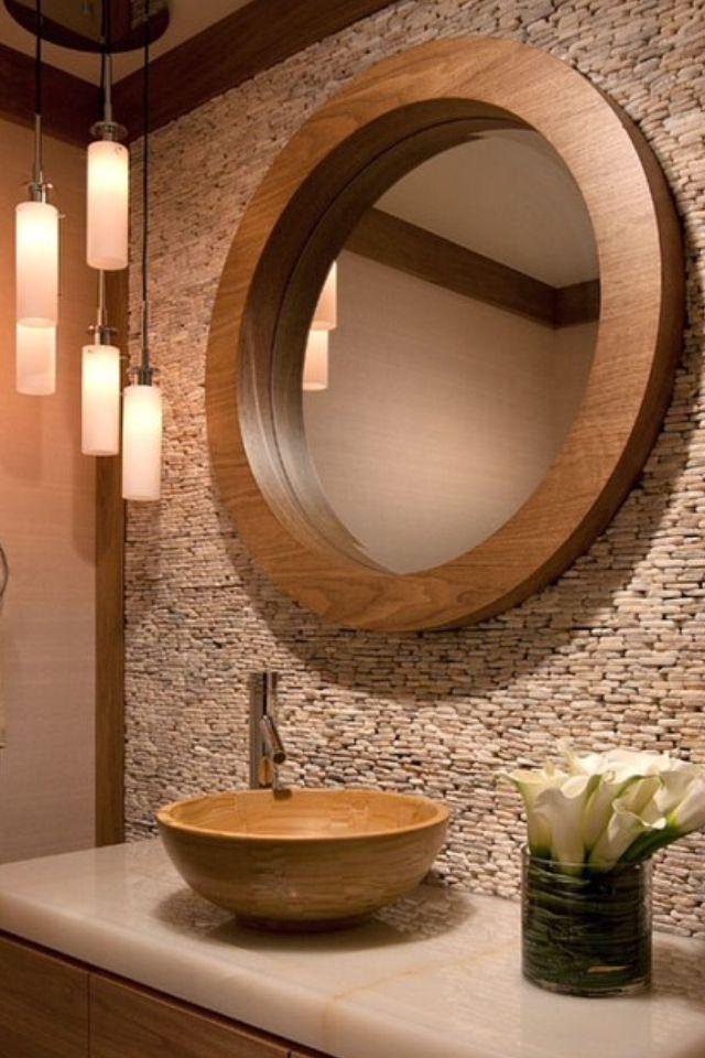 espejo redondo pared rstica