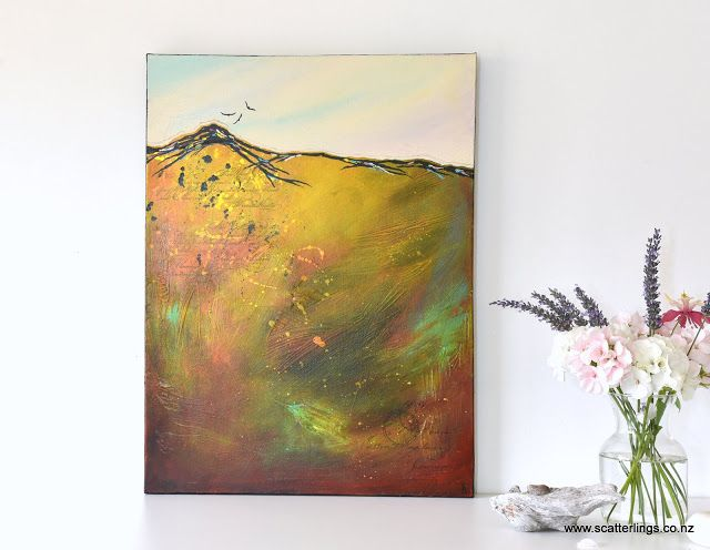 """Soar"" abstract landscape on canvas by Renee Walden"