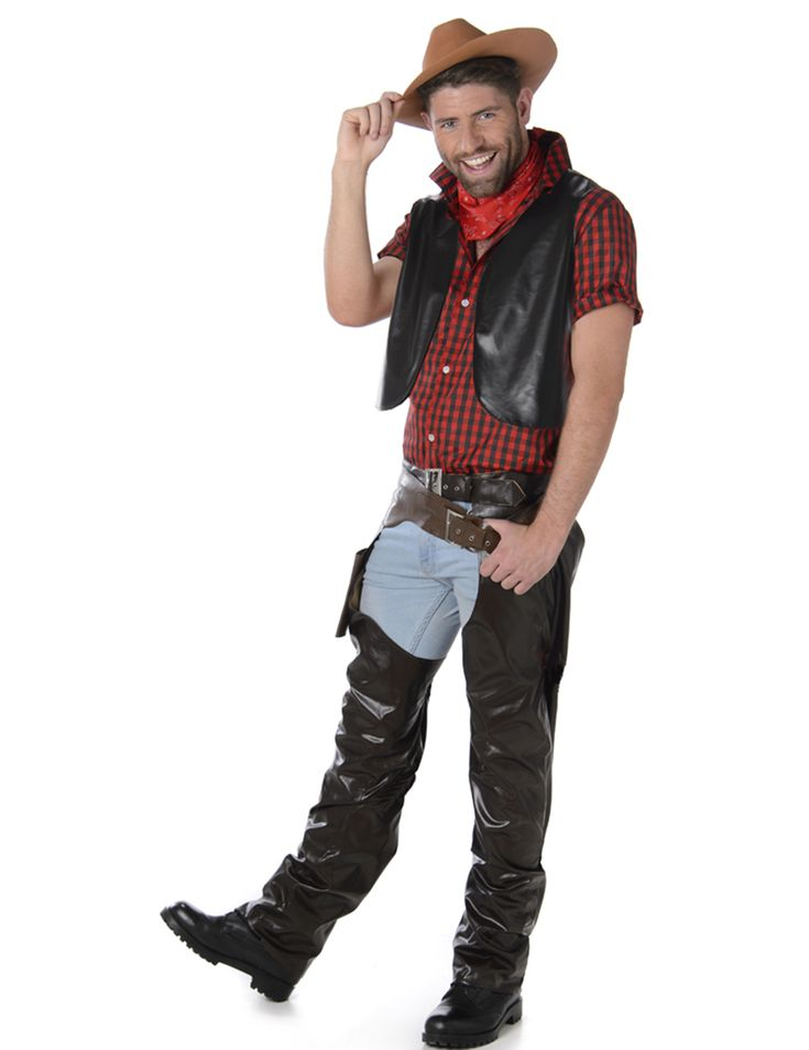 Disfraz de vaquero hombre: Este disfraz de vaquero para hombre incluye camisa, chaleco, cubre pantalones, sombrero, pañuelo y cartuchera (pantalón y zapatos no incluidos).La camisa es roja a cuadros negros y se...