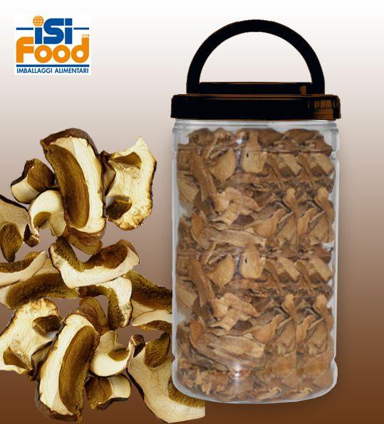 PET012 l'innovativo contenitore ideale per conservare in maniera invitante i funghi secchi. Studiato in linea con il Regolamento concernente la disciplina della raccolta e della commercializzazione dei funghi, caratterizzato da una inconfondibile trasparenza paragonabile a quella del vetro, che ne garantisce una piena visibilità del contenuto, affiancata all'infrangibilità propria della plastica