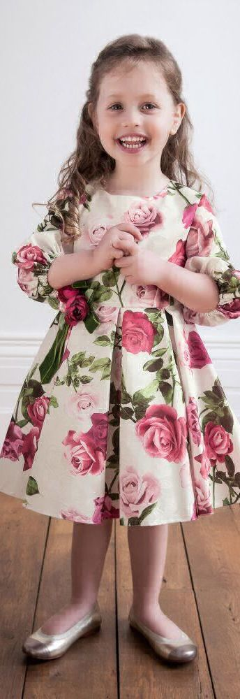 SALE !!! DAVID CHARLES Girls Designer Floral Jacquard Party Dress.  Love this ivory satin jacquard dress  in beautiful pink roses giving it a vintage feel. Perfect Party Dress for Girls at a Special Occasion or Family Event. Designed in London. Now On Sale!   #kidsfashion #fashionkids #girlsdresses #childrensclothing #girlsclothes #girlsclothing #girlsfashion