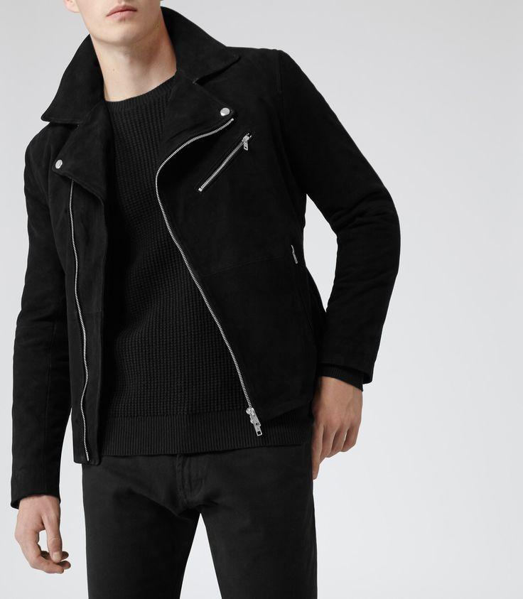 Mens Black Suede Biker Jacket - Reiss Mick