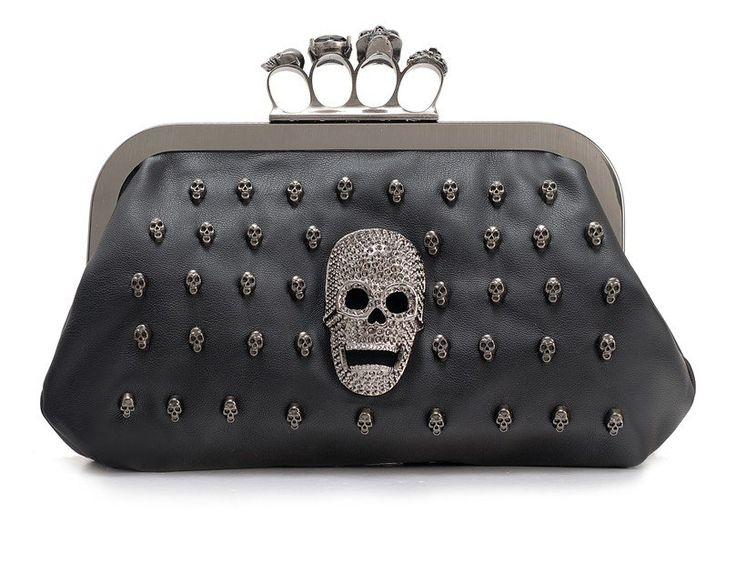 Skull Crossbody Handbag - Black
