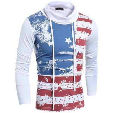 Men's Turtleneck United States Flag Teeshirts