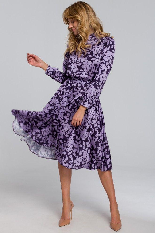 Sukienka Z Rozcieciem Na Plecach Fioletowa W Kwiaty Dresses Stunning Dresses Flare Dress