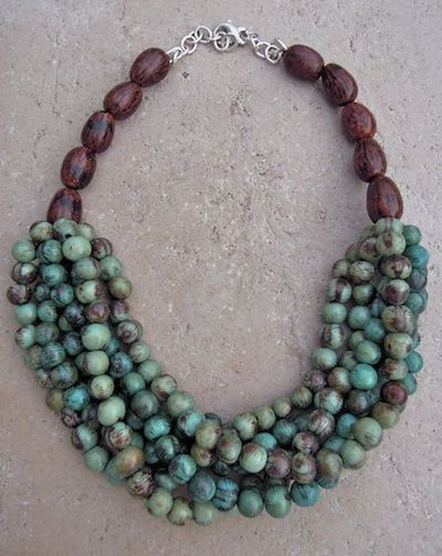 Turquoise and wood necklace                                                                                                                                                     More