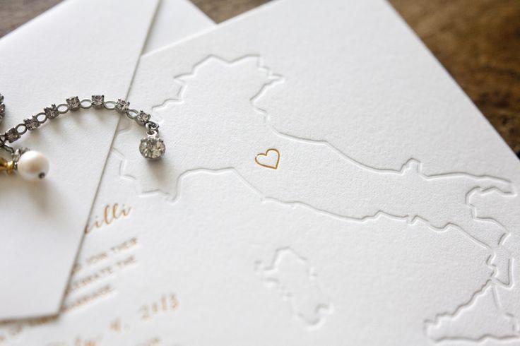Custom letterpress Italian wedding invitation by Bears Eat Berries