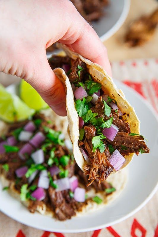 """Barbacoa Tacos  -  FB comments, """"I used top round roast instead of chuck because it was on sale. I browned the meat on sautee, then cooked down the onions and built the braising liquid right in the pot. Then I set it to Meat/Stew 45 mins and it came out shreddy and very flavorful."""""""