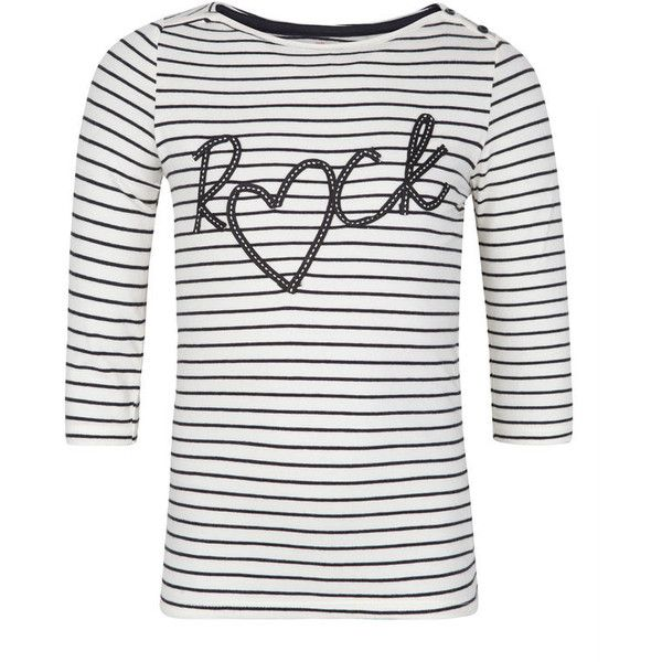 MEISJES ROCK STRIP SHIRT (460 UYU) ❤ liked on Polyvore featuring tops, white top, white shirt, rock tops, rock shirts and strip shirt