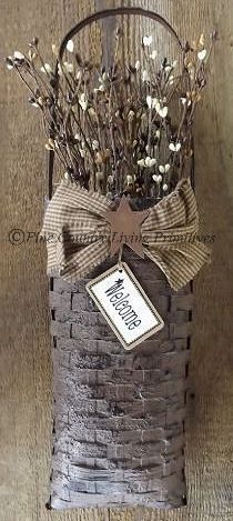 Handcrafted Primitive Basket and Berries ~ Welcome