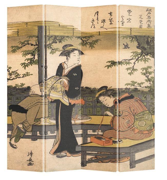 Oosterse Kamerscherm 4 Panelen Japanse Vrouwen in Kimono Kalligrafie Kiyonaga Canvas - Orientique.nl - Asian Living