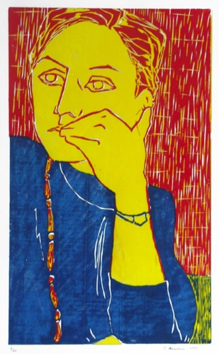 """The necklace"", 1990. Color woodcut  from three pieces woodblock. Composition: cm 25 x 40 ;  sheet: cm 50 x 70."