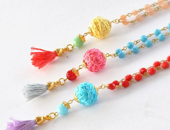 Tassel Beaded Necklace  Multi Colors Necklace  by stellacreations