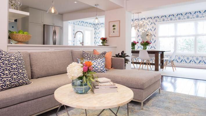 Sofa against the kitchen. Season 5, Episode 19. Property Brothers