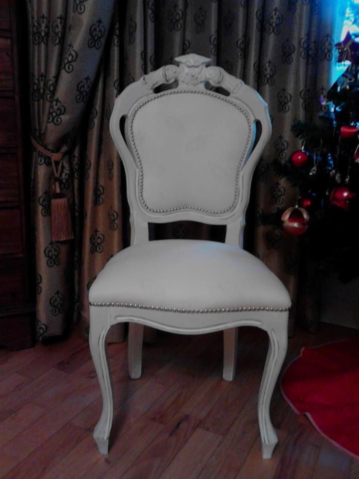 Antique Chair Handpainted and Hupholstered in white