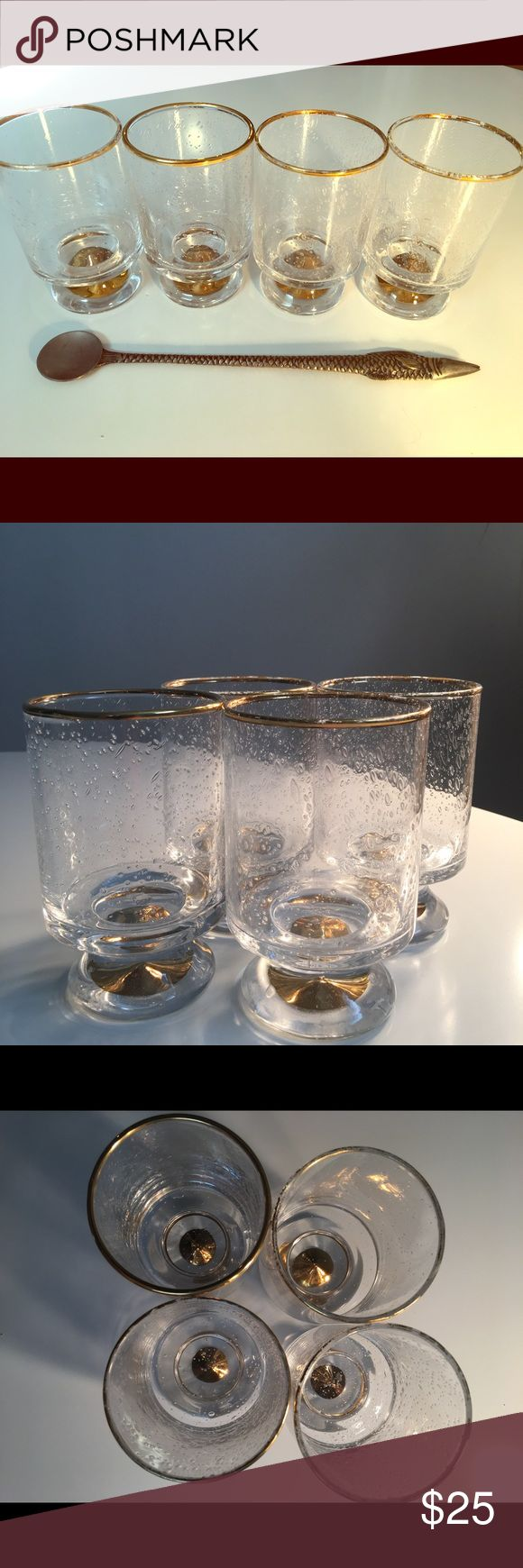 Set of 4 anthropology cocktail glasses &free gift 4 gold leaf anthropologist glasses. Some of gold leaf has rubbed off on rim. See pictures. Eclectic luxury chic. Comes with free anthropology fish cocktail stirrer. Anthropologie Other