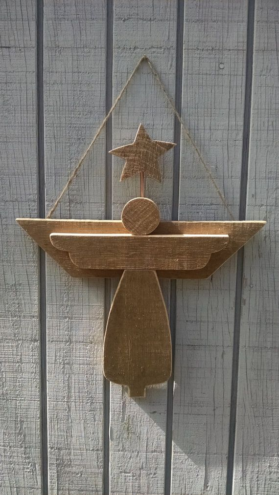Hand made Rustic wooden Angel by TheWoodmen on Etsy