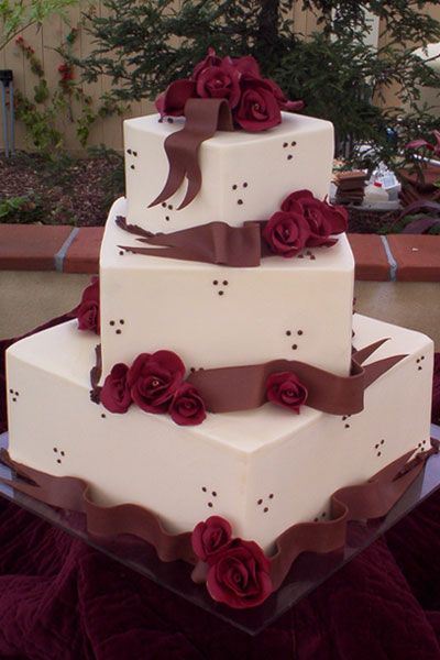 I love this shade of red. By CAKE: Wedding Cakes and Special Occasion Cakes in San Diego