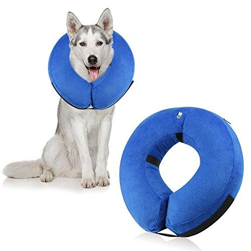 ONSON Protective Inflatable Dog Collar, Soft Pet Recovery E-Collar Cone for Small Medium Large Dogs, Designed to Prevent Pets From Touching Stitches, Wounds and Rashes, Does Not Block Vision, Large.
