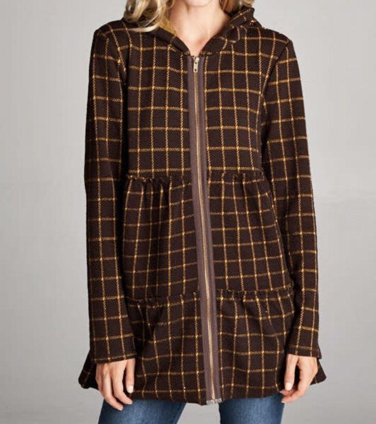 Brown Zip Up Peplum Hoodie Jacket #modest